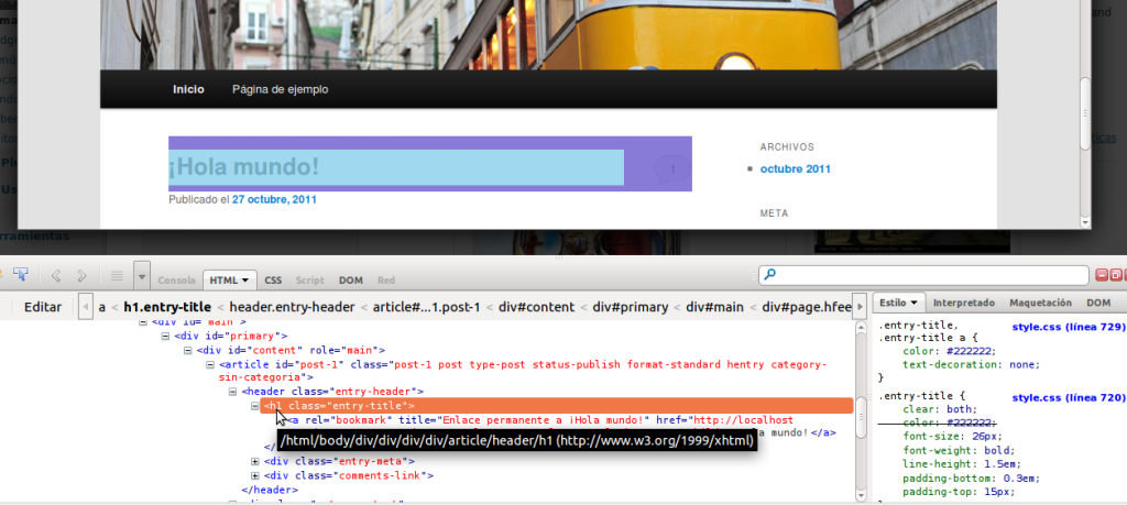 pantallazo inspeccionar html